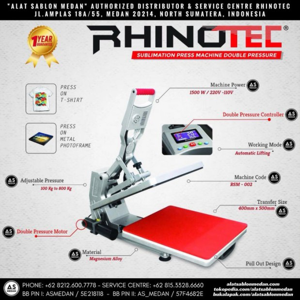 Rhinotec RSM-01 mesin press hidrolik sublime double pressure